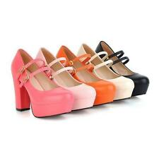 Womans Sweet  block high heel pumps ankle strapy platform party shoes