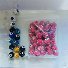 Many Colors! 50Pcs Evil Eyes Rhinestone Shamballa 10mm Round Spacer Beads