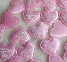 Heart Shaped Fabric I Love You Embellishments - Baby Pink