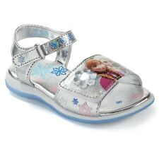 Disneys Frozen Girls Sandals Anna Elsa Light-Up silver blue toddlers size 11 NEW