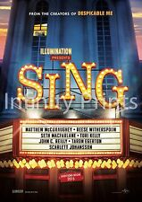 Sing Movie Film Poster Various Posters and Sizes A2 A3 A4