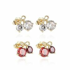 Cute Cherry Bow Ruby Big Crystal Stud Earrings Ear Earings Yellow Gold Filled