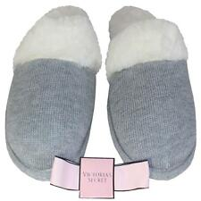 Victoria's Secret Slippers Faux Fur Knit House Shoes Warm Comfy M 7-8 L 9-10