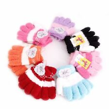 Cute Infant Baby Kid Full Finger Warm Winter Gloves Toddler Knit Rainbow Mittens