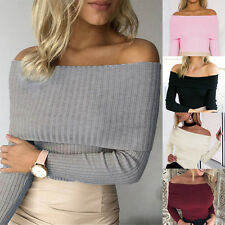New Womens Ladies Jumper Ribbed Bardot Off Shoulder Long Sleeve Fitted Top 6-14