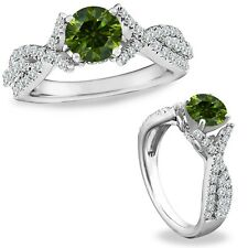 1 Ct Green Diamond Classy Solitaire Halo Wedding Promise Ring 14K White Gold