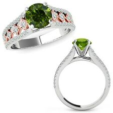 1.50 Ct Green Diamond Beautiful Solitaire Halo Wedding Ring Band 14K Rose Gold