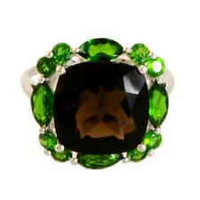 SMOKY 6.15 CARAT & CHROME DIOPSIDE GEMSTONE RING IN 14 KT WHITE GOLD