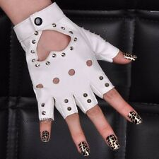 Women Stud Spike Cut Out Half Finger Gloves Faux Leather Pole Dance White/Silver