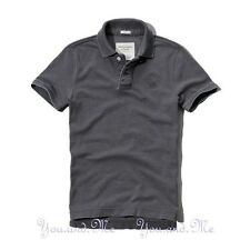 NEW ABERCROMBIE & FITCH MEN * A&F Flagstaff Mountain Cotton Polo Shirt Grey M-L