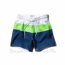 NEW ABERCROMBIE & FITCH MEN * A&F Buell Mtn Swim Board Trunks Shorts * Navy M/XL