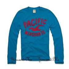 NEW HOLLISTER LONG SLEEVE TEE Little Dume Graphic Crew Neck T-Shirt Turquoise M