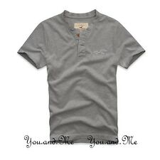 NEW HOLLISTER TEE for MEN Emerald Cove Henley T-Shirt Muscle Fit * Grey S M L XL