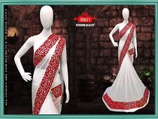 Bollywood Party Wear Saree Bridal Wedding White Sari Indian Pakistani Saree