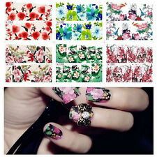Flowers Foils Glitter Nail Art Stickers Wraps Water Transfer Decals X2 JS