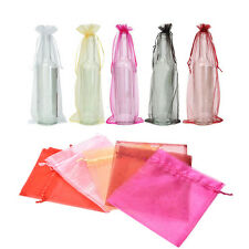10Pcs Sheer Organza Wine Bottle Gift Bags Cover For Holiday Party Wedding JS