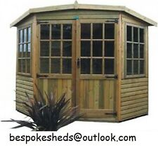 Corner Summerhouse Garden Office Shed Summer House Tanalised 16MM T&G All Round