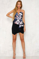 Tina Black Dusty Pink Floral Front Frill Detail Bandeau Bodycon Dress