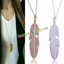 New Women Feather Pendant Long Chain Jewelry Necklace Sweater Chain Vintage