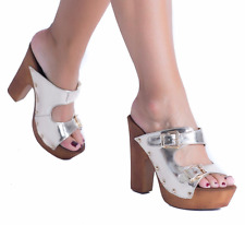 WOMENS LADIES SLIP ON BUCKLE STRAPPY CHUNKY BLOCK WEDGE SHOES HIGH HEELS SANDALS