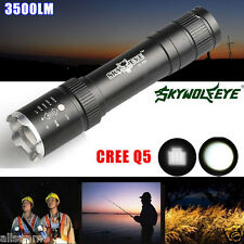 3500LM 3 Modes Zoomable CREE Q5 LED 18650 Outdoor Flashlight Zoom Torch Lamp US