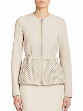 AKRIS Punto Jacket Perforated Canvas Peplum Natural Full Zip Women's Sz 6 $1590