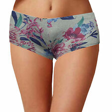 Womens low waist hot pants ladies boy shorts knickers printed size 6 8 10 12 14