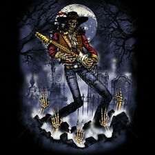 Graveyard Musician Skeleton Skull Playing Guitar Rock & Roll Lovers T-Shirt Tee