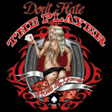 Don't Hate The Player Hate The Game Poker Dice Pin Up Girl Funny T-Shirt Tee