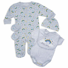 5PC Unisex Baby Layette Set Girls Boys Dream A Little Rainbow Outfit In Grey
