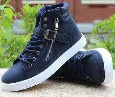 Stylish mens leisure sneakers canvas buckle zip lace up high top ankle boots