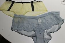 NEW MARKS AND SPENCER SET OF 2 LACE BOYLEG BRIEF PANT SIZE 12