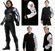 Bucky Hoodie Zipper Winter Soldier Top Jacket Luminous Captain America COSplay