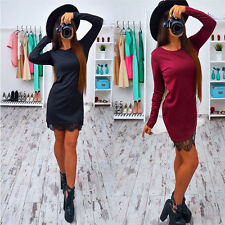 Womens Fashion Sexy Long Sleeve Lace Bodycon Cocktail Evening Party Dress
