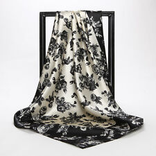 16 Square Scarf Women Imitated Silk  Black and White Flower Scarves Shawl Hijab