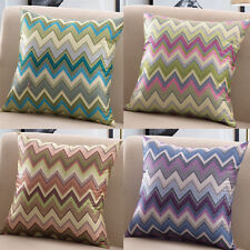 Colorful Wavy Serrated Pattern Cushion Cover Pillow Case Office Home Decor FN194