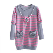 Girls Long Sleeve Knit Dress Kids Stripe Princess Party Sping/Autumn Dresses