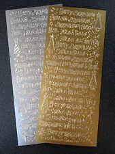 Two Sheets Peel Offs Christmas Greetings Mixed Gold Silver
