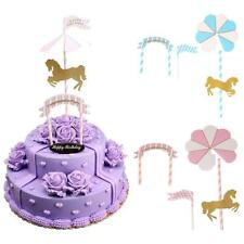 Pink or Blue Happy Birthday Cake Topper Set Glitter Horse Congratulation Party
