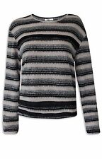 NEW Ex Oasis Beige & Black Striped Silver Shimmer Long Sleeved Knitted Top XS-L