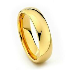 6mm Men Or Ladies Tungsten Carbide Shiny Polished Gold Wedding Band Ring