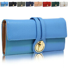 Trifold Faux Leather Twist Lock Women Purse Designer Ladies Girl Wallet Cards UK