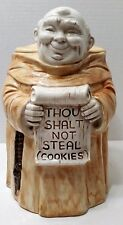 Vintage Monk Friar Cookie Jar by Treasure Craft, Thou Shall Not Steal, Mid Cent