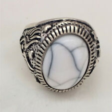 Vintage 316L Stainless Steel Vogue Design Mini Stone Ring New Size 8 9 10 11  *