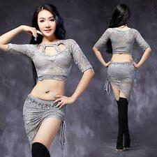 New Sexy 2016 Women Belly Dance Costume Set Practice Lace 2Pics Top Skirt M L