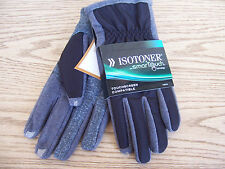 Isotoner Smart Touch Black & Gray Touchscreen compatible men's gloves New $45