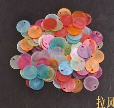 50Pcs Assorted Color Flat Round Mother Of Pearl Shell Coin Drop Charm Beads