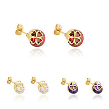 korean Jewelry Womens 18K Gold Plated Big Crystal Ruby Fashion Stud Earrings