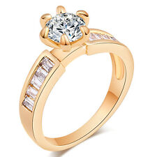 White Round Crystal Micro-inlaid Exquisite CZ Ring 18K GP Ring Size 6/7/8/9