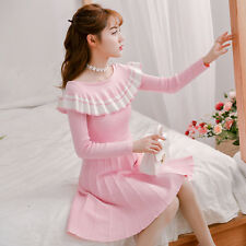 3colors Elegant Lolita Women Sweet Princess Slim Falbala Long sleeve Kint Dress
